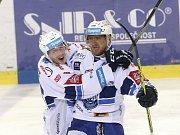 Martin Erat (vpravo) se raduje z gólu s Jakubem Krejčíkem.