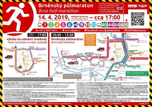 Dopravu vcentru Brna vneděli dopravní podnik omezí kvůli půlmaratonu.