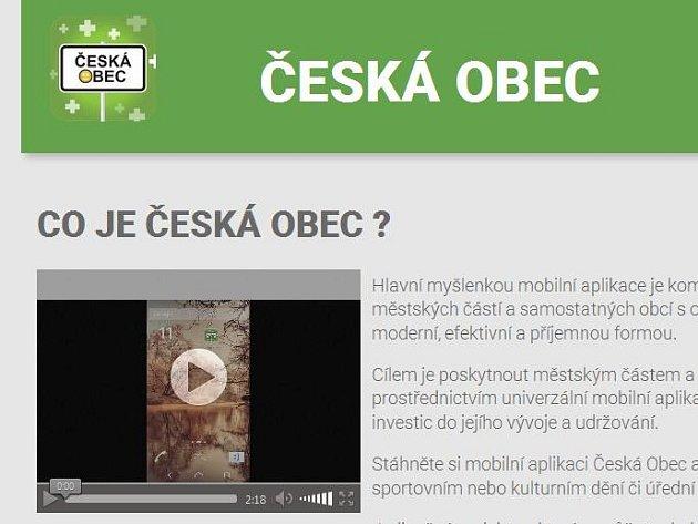 Print screen části internetové stránky České obce.