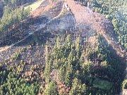 Požár vypukl v neděli odpoledne v lese u Hostěnic na Brněnsku, kde hořela plocha dvou hektarů.