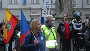 Demonstrace na Zelném trhu v Brně
