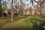 Současná podoba parku na Palackého náměstí v brněnských Řečkovicích. Při revitalizaci vysadí nové stromy, položí parkový trávník nebo opraví cesty.