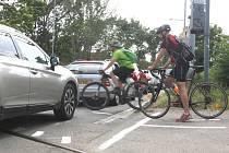 Brno 17.6.2019 - namalovaný přechod pro cyklisty v brněnské ulici Hladíkova