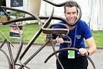 Sportovní redaktor Jaroslav Kára na mistrovství Evropy dráhových cyklistů ve Fiorenzuole d'Arda.