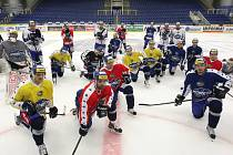 POSLEDNÍ DOMLUVY. Hokejisté Komety v pondělí dopoledne trénovali v Brně, pak se vydali do Plzně.