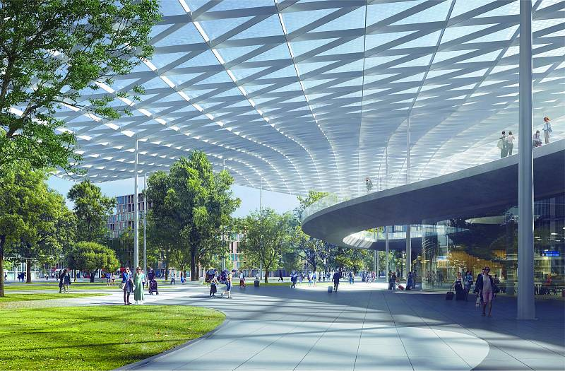 Třetí místo: návrh podoby nového hlavního vlakového nádraží v Brně od ingenhoven architects GmbH, Architektonická kancelář Burian-Křivinka, architekti Koleček-Jura.