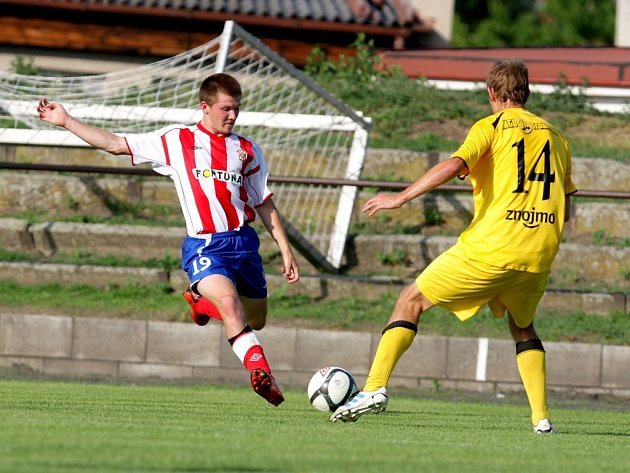 Fotbalová Zbrojovka Brno v utkání s 1. SC Znojmo.