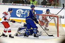Carlson Hockey Games v brněnské DRFG aréně mezi Českem v bílém a Švédskem.