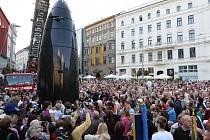 Slavnostní odhalení hodin na brněnském náměstí Svobody.