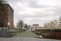 Vítězný návrh architektonické soutěže na nový hlavní vstup brněnského Ústředního hřbitova od ateliéru Refuel.