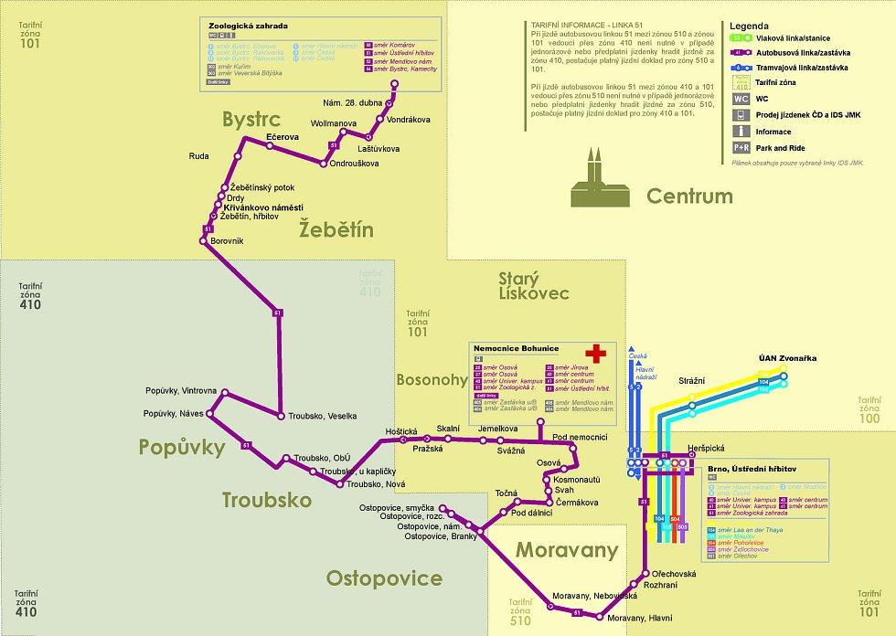 Schéma autobusové linky 51.