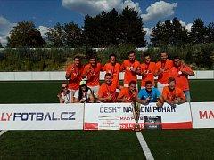 Před dvěma lety ve finále prohráli, na domácím hřišti za Lužánkami zažili hráči brněnského týmu BKMK Werbedesign zlatou satisfakci. Vyhráli Český národní pohár v malém fotbale, když ve finále porazili pražský celek Restaurace U Pecků 5:4.