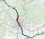 Návrh trasy severojižního diametru.