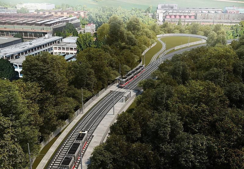 Plánovaná konečná tramvajové trati na Stránská skále.