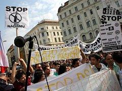 Náměstí svobody patřilo Romům,  kteří přišli demonstrovat proti narůstající agresi vůči nim.