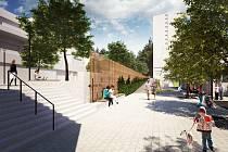 Vizualizace budoucí podoby Halasova náměstí na brněnském sídlišti Lesná.
