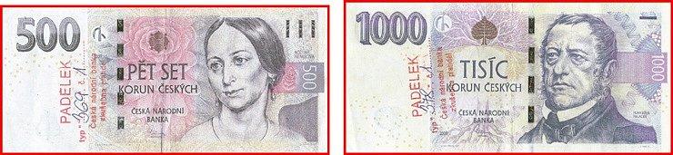 Padělané bankovky 500 Kč vzor 2009 a 1 000 Kč vzor 2008.