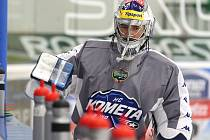 Středeční trénink hokejové Komety před prvním finálovým zápasem proti Zlínu.