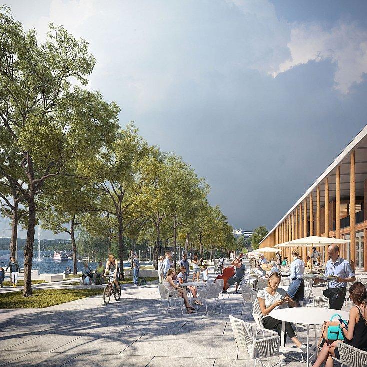 Promenáda na Brněnské přehradě na vizualizaci firmy knesl kynčl architekti a Projektová kancelář Ossendorf.