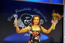 Brněnská herečka Jana Musilová při přebírání ocenění při letošním udělování Cen Františka Filipovského za dabing.