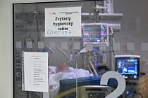 Pacient s nemocí covid-19 leží 16. října 2020 na anesteziologicko-resuscitační klinice Fakultní nemocnice u svaté Anny v Brně.