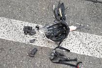 Helma zachránila cyklistu při nehodě v Brně.