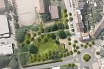 Vizualizace budoucí podoby parku Řehořova v brněnských Černovicích podle návrhu zahradní architektky Evy Wagnerové.