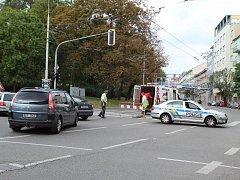 Na Kolišti unikal plyn. Policie musela řídit provoz.