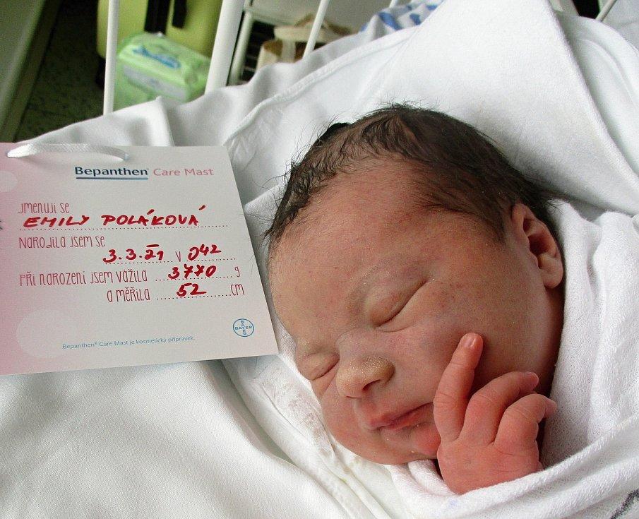 Emílie Poláková, 3. 3. 2021, Břeclav, Nemocnice Břeclav, 3770 g, 52 cm