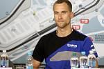 Brno 6.6.2018 - Ondřej Ježek na tiskové konferenci k nadcházejícím závodům SBK v Brně.