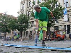 Značení nových parkovacích zón v centru města Brna.
