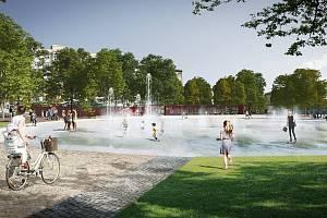 Dominantou parku na Moravském náměstí se stane centrální plocha s vodním prvkem.