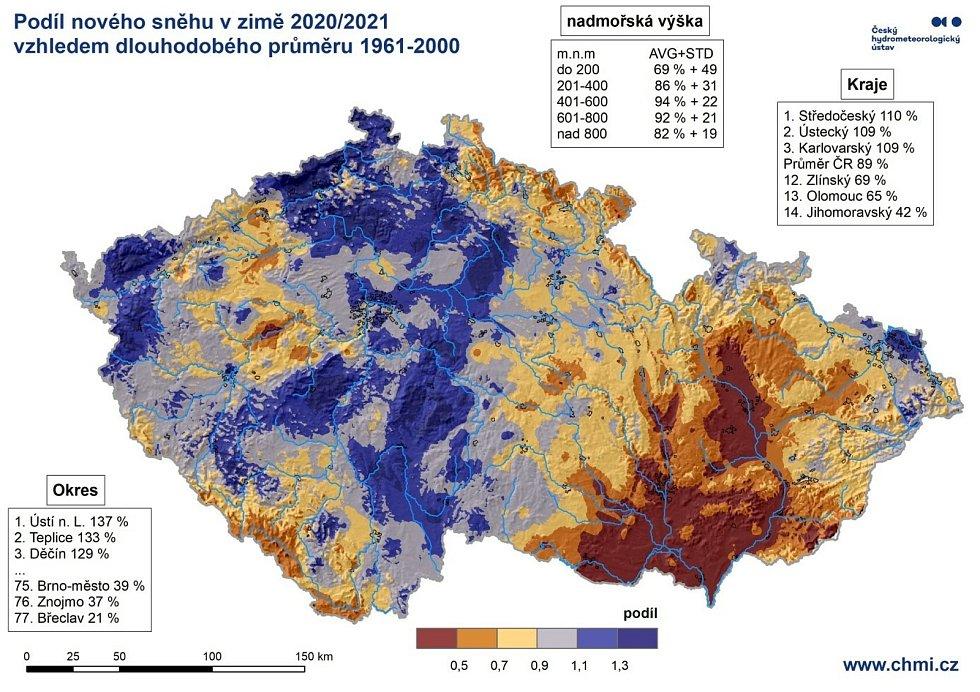 Podíl nového sněhu v zimě 2020/21.
