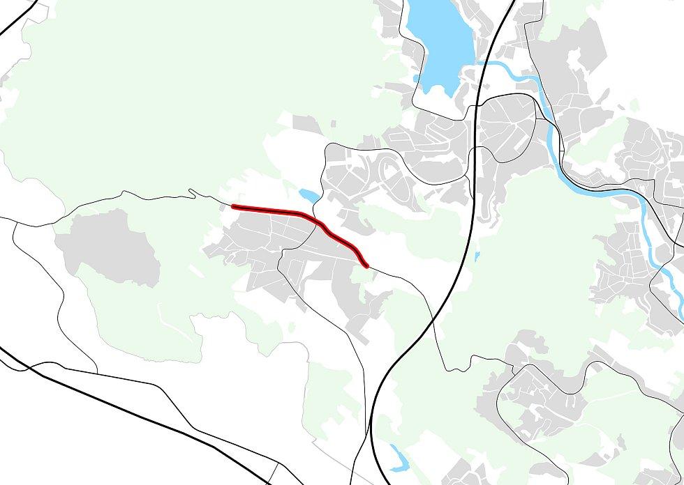 Obchvat Žebětína v návrhu nového územního plánu Brna.