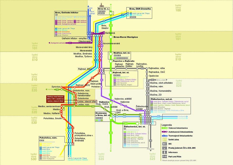 Schéma krajské dopravy v Židlochovicích a okolí.