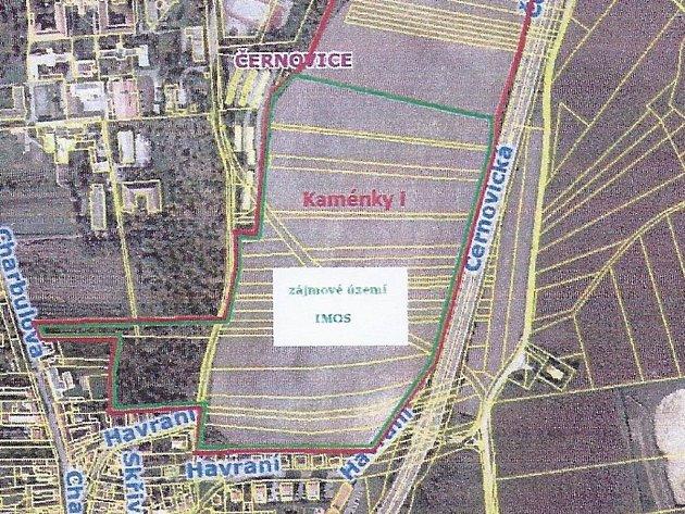 Kaménky se nachází nad Charbulovou ulicí v brněnských Černovicích.