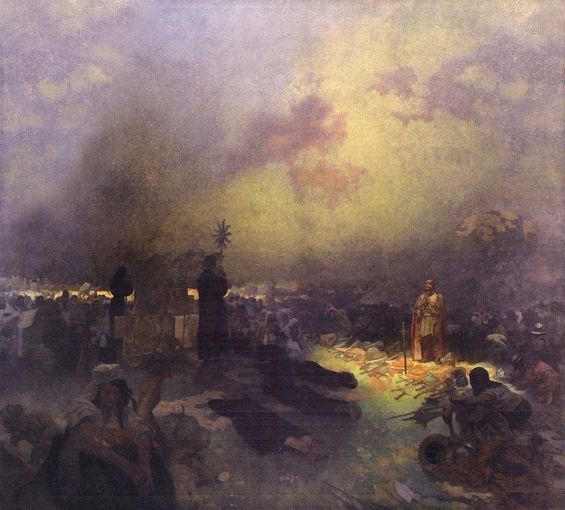 Po bitvě na Vítkově, Alfons Mucha.