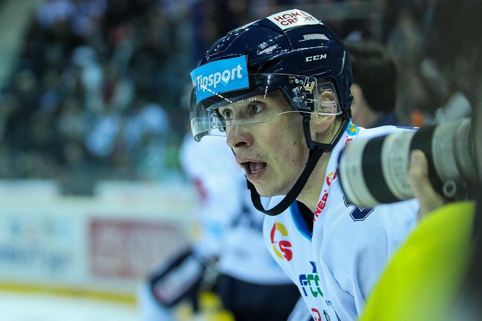 Utkání 50. kola Tipsport extraligy ledního hokeje se odehrálo 26. února 2017 v liberecké Home Credit areně. Utkaly se celky Bílí Tygři Liberec a HC Kometa Brno. Na snímku Martin Ševc .