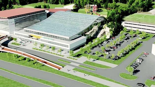 Vizualizace plánovaného akvaparku v Brně za Lužánkami.
