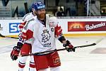 Úvodní zápas Carlson Hockey Games v brněnské DRFG aréně mezi Českou republikou v bílém (Jakub Voráček) a Finskem