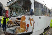 Nehoda tramvají v brněnské Křížové ulici.