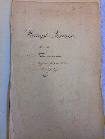 První list zinventární knihy Františkova muzea, rok 1808.