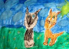 Obrázek z pohádky Z deníku kocoura Modroočka nakreslila Vanesa z 2.A základní školy na náměstí Republiky ve Znojmě.