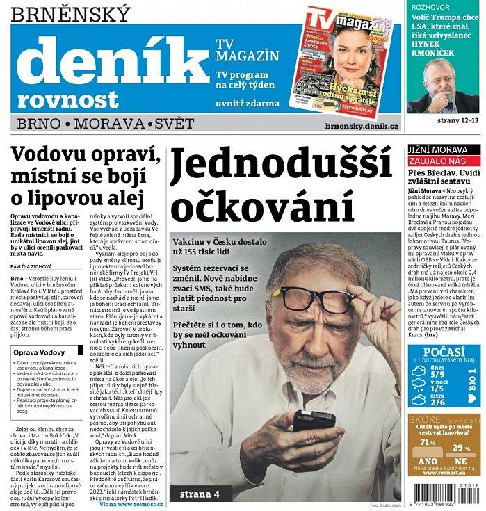 Takto noviny vypadají nyní: náhled titulní strany Brněnského deníku Rovnost z pátku 22. ledna 2021.