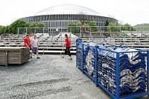 Pondělní přípravy na festival Majáles, který hostí areál brněnského výstaviště.