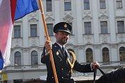 Zahájení Mezinárodního policejního mistrovství v jezdectví na Náměstí Svobody.