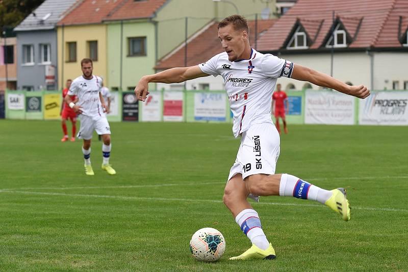 29.8.2020 - domácí SK Líšeň v bílém (Ondřej Ševčík) proti FK Blansko
