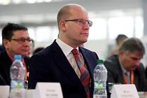Premiér Bohuslav Sobotka na sjezdu ČSSD v Brně.