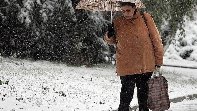 Sníh v Brně na Lesné.