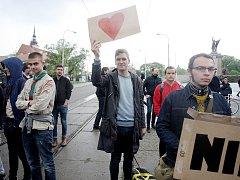Účastníci akce Brno blokuje. Ilustrační foto.